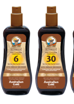 Australian gold spf met bronzer spray gel collection zonnebrand creme lotion zonbescherming